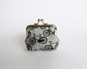 Coin purse, grey and black bicycle fabric, cotton pouch