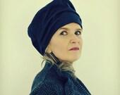 Navy Houndstooth Tweed Wool Hat