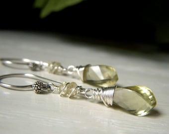 Lemon Quartz Earrings, Step Cut Gemstone Briolette, Sterling Silver Teardrop Earrings, Pale Lemon Yellow Earrings, Genuine Lemon Quartz
