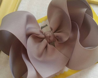 """Charcoal Bow - Grey JoJo Bow - 6 Inch Silver Bow Made with 2.25"""" Ribbon - Southern Style Bow - Girls XL Hair Bow - Jumbo Hair Bow - 6"""" Bow"""
