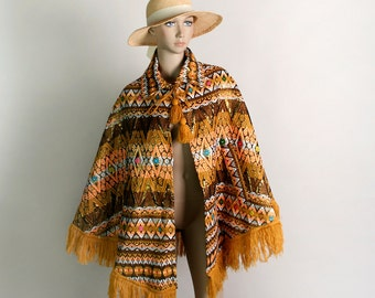 Vintage 1970s Poncho - Ehtnic Woven Embroidered Knit Southwestern Style Poncho Cape with Fringe, Golden Thread and Tassles