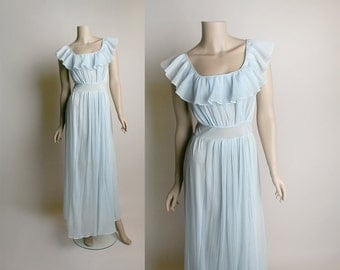 Vintage 1970s Maxi Slip - Soft Pastel Powder Blue Pleated Lounge Negligee Slip Dress - Small Medium