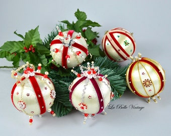Vintage Hand Beaded Christmas Ornaments ~ Sequin Silk Satin Pins Pearls Handmade Ball Set ~ White & Red
