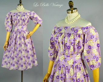 Off Shoulder Peasant Dress ~ Vintage Purple Floral Cotton Dress ~ Full Skirt