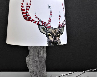 Stag Lampshade - Stag and antlers shade - Stripey antlers lampshade- Countryside Decor - Hunting and shooting decor - Deer and bee lampshade