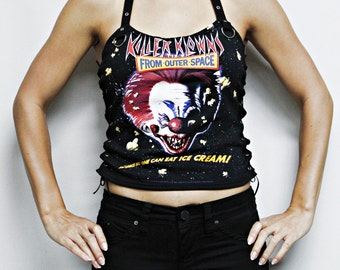 Killer Klowns Outerspace Lace up shirt tank top Horror movie gothic clothing apparel dark style nightmare elm street altered tee t-shirt