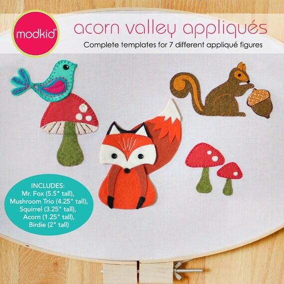 Acorn Valley Appliqué Templates Fox, Squirrel, Acorn, Mushroom, Bird PDF Downloadable Pattern by MODKID - Instant Download