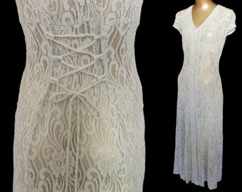 Vintage 40s Style Dress, 1990s Pale Sage Green Chantilly Lace Day Dress, Ankle Length Festival Size XS to S