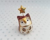 Plum Fairy Owl Sculpture with Gold Star