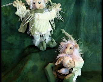 Soft Sculpture Winter Elf Brother and Sister OOOK Dolls
