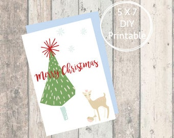 Christmas Card Deer, Merry Christmas, Printable Christmas Card, Christmas Card, Printable, Holiday Card, Mid-Century,Forrest,Woodland,baby