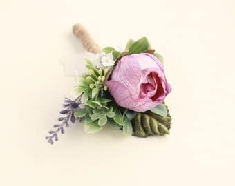 Rose and lavender boutonniere, Artificial flower boutonniere, Woodland wedding, groomsmen button hole, rustic boutonniere, Purple plum ivory