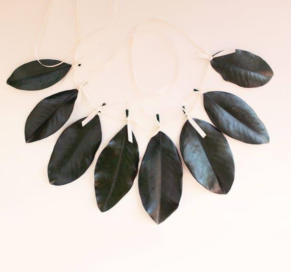 Magnolia leaf garland, Natural home decor, Magnolia wall hanging, Wedding mantle decoration, preserved greenery, Natural wedding garland