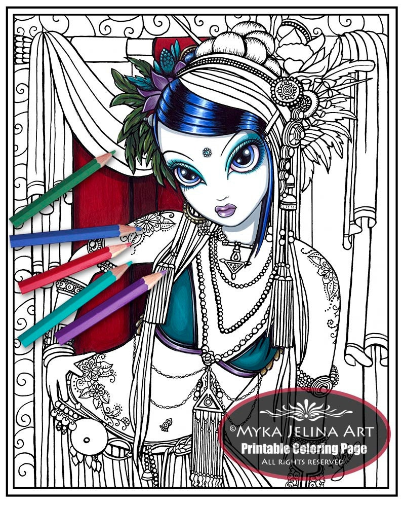 Sonya tribal fusion digital download coloring page for Myka jelina coloring pages