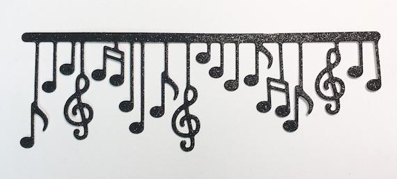 Musical Notes Dangle Border Die Cut Black Glitter Cardstock Embellishment Scrapbook Greeting Card Mixed Media Paper Art Craft Altered Attic