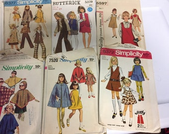 Lot vintage Girls dress patterns 1960s girls size 6
