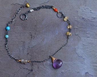 Amethyst Drop Bracelet - Oxidized Sterling Silver Bracelet - Mixed Metal Bracelet - Dainty 14kt Gold Bracelet -Mixed Stone Bracelet