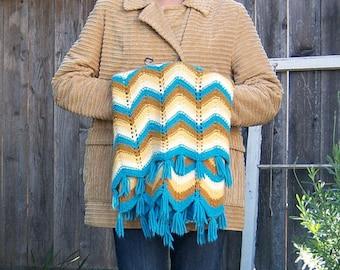 Vintage 70's chevron afghan / crochet wrap blanket shaw / aqua blue tan yellow brown fringe /  64x35