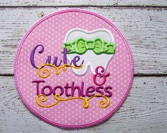 Girls Iron On Or Sew On Applique - Cute & Toothless - Lost Tooth
