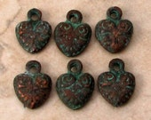 Green Patina Small Heart Charm, 10 mm, 6 Pieces, M440