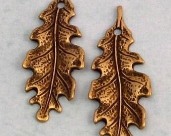 Small Oak Leaf Charm, Brass Ox, Trinity  Brass, 2 Pieces AB76