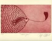 etching, Love you, Fish, heart, ocean, red, home interior, romantic art, interior decorating, girls room, wedding gift, engagement gift