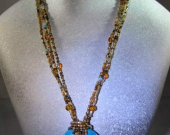 CLOSEOUT Genuine Turquoise Donut beaded necklace