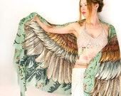 SALE Festival Clothing, Bohemian Clothing, Boho Clothing, Digital Print Scarf, Sarong Scarf, Wings Scarf, Bird Feather Scarf, makeforgood