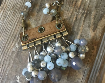 Stormy Weather Keytainer Repurposed Necklace Labradorite Pearl Apatite Blue Gray White Silver