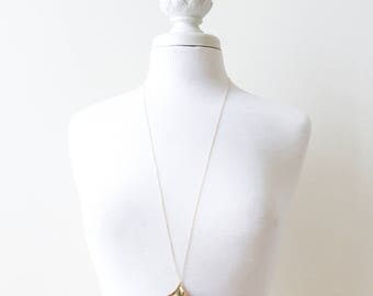 Ginkgo I large gold brass pendant on long chain, Free Shipping to USA