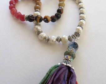 Long Tassel Necklace With Sari Silk Tassel-Boho Chic Necklace