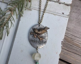 Navigate Narrative Necklace with Bird | African Trade Bead Rhinestone Turquoise | Narrative Jewelry