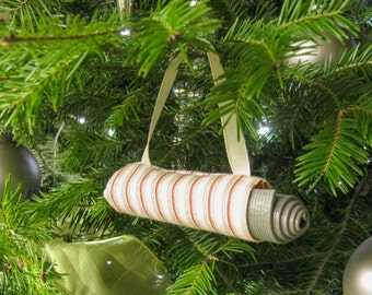 Yoga Stocking Stuffer. Christmas Ornament. Coral Stripe Yoga Bag Christmas Decoration. Yoga Instructor Gift. Secret Santa Gift Idea