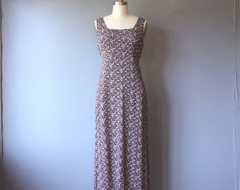 vintage floral tie back dress / grunge revival sleeveless dress / empire waist dress / medium