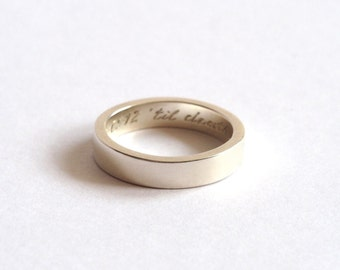 Wedding Ring, Sterling Silver, Handmade Wedding Band, 5mm Wide, Personalised Wedding Ring, Bespoke, Brighton, uk
