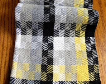 Handwoven Turned Twill Towel, Black Gray White Yellow, Chef's Towel, Asymmetrical Design