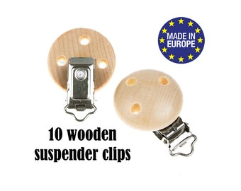 "10 Natural Wooden Suspender clips DIY 5/8"". certified baby safe wood pacifier clip. baby suspender clips. wooden dummy clip #293408"