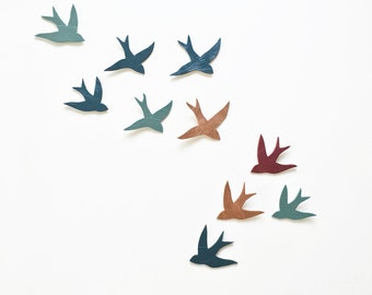 Flock 10 ceramic wall art swallows Peacock teal blue, merlot and copper rose gold decor Bird porcelain wall sculpture artwork MADE TO ORDER