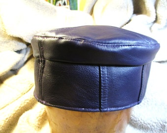 Leather Kufi Hat in Blue Violet/ Deep Purple, Large Size