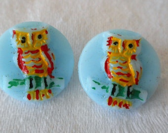 Set of 2 VINTAGE Painted Owl on Blue Glass BUTTONS