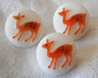 Set of 3 VINTAGE Painted Fawn Deer on White Glass BUTTONS