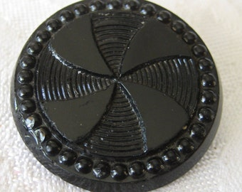 Large ANTIQUE Thick Black Glass Pin Wheel BUTTON