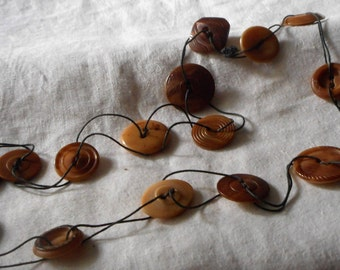 Vintage Vegetable Ivory or Tagua Nut Button Jewelry Necklace