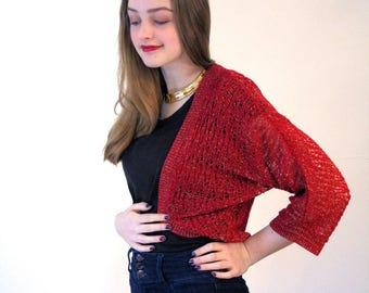 Garnet, 90s Glam Metallic Bolero, Red Gold Knit Shrug, Cropped Bolero Sweater, Cropped Metallic Sweater, Glitzy Red Bolero, Glam Red Shrug S