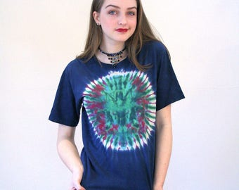 80s Navy Blue Tie Dye T-Shirt, Vintage Hippie T-Shirt, Distressed Blue Tie Dyed T-shirt, Psychedelic T-shirt, Mandala T-shirt, M