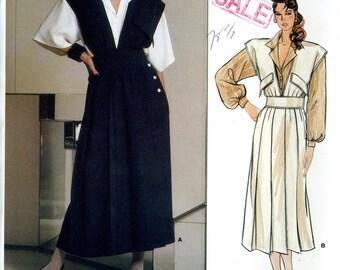 Vogue 1584 Paris Original Designer Chloe Jumper Dress and Blouse Shirt Size 14 Uncut Vintage Sewing Pattern 1985