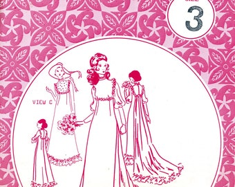Patterns Spacifica 309 Hawaiian Victorian Wedding Bridesmaid Dress with Train Bib Front Size 3 Bust 30 1/2 Uncut Vintage Sewing Pattern