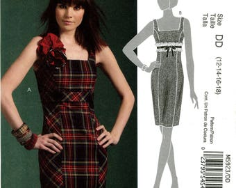 McCall's M5923 Dress Tapered Fitted Empire Waist Size 12 14 16 18 Uncut Sewing Pattern 2009