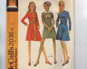 1960s Vintage Dress Pattern McCalls 2036 Misses A Line Dress with Peter Pan Collar Size 12 Bust 34 1969 60s
