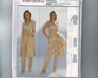Misses Sewing Pattern Burda 8454 Coordinates Tank Dress Pants Duster Jacket Size 10 12 14 16 18 20 UNCUT 1990s